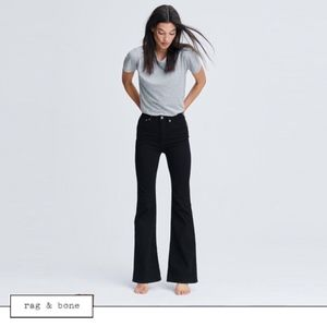 rag & bone High-Rise Bell-Bottom in Washed Black